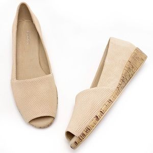 Aerosoles Spring Break 9M Beige Peep Toe Wedges
